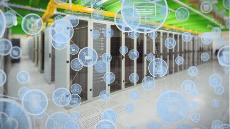 поставщик : Digital composite of a server towers while digital icons inside circles move closer together.