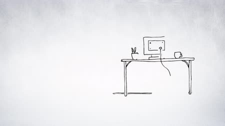 iş istasyonu : Digital animation of a sketch of a computer monitor plugged and cup with pens and a cup shows on the table. Stok Video