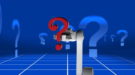 noktalama : Digitally generated animation of question mark in red placed by a robot hand while back ground shows rotating blue questions marks.