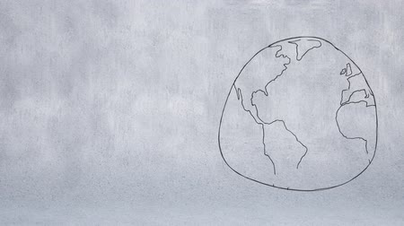 иллюстрировать : Digitally generated animation of sketch of the world drawn in monochrome against a gray background.