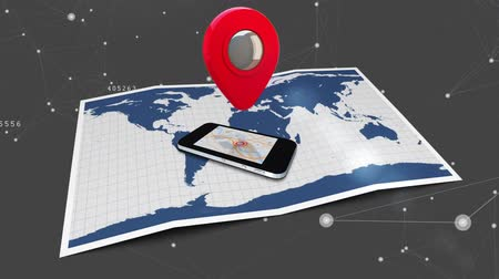 paper airplane : Digitally generated map icon rotates above a cellphone placed on top of a paper map and background with glowing asymmetrical lines Stock Footage
