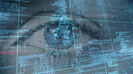 planet : Digital composite of a female with blue eyes concentrating and sphere of icon moves away from the eye while background shows digital data and information. Stock Footage