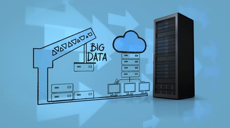 capacidade : Digitally generated animation of how cloud storage works works. A server stands on the right hand side on a blue background with floating arrows indicating data going into it.