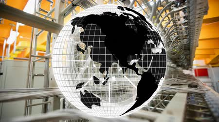 portátil : Digital composite of wires as background and globe with black details rotating with glowing circles blinking