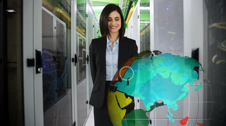 presleme : Digital composite of a Caucasian female executive in business attire at inside office, pointing towards a digitally generated rotating globe.