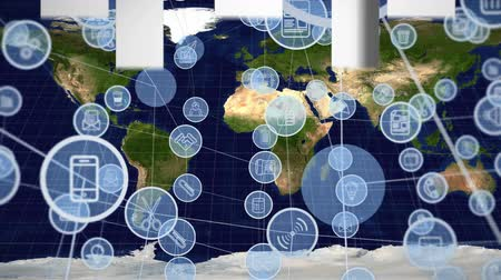 indicar : Digitally generated animation of circle applications icons interconnected and background shows map of the world. Stock Footage