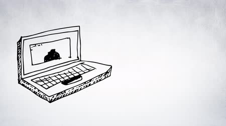 ilustrar : Digitally generated sketch of laptop being drawn in monochrome, gray background. Vídeos