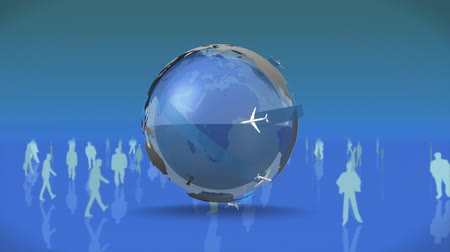 evrensel : Digitally generated globe zooms in and out of the center while airplanes circle it. Male and female silhouette circle the globe.