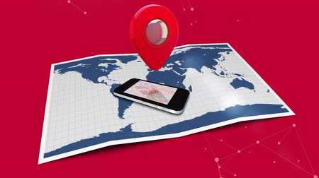 tárcsázás : Digitally generated map icon rotating above a cellphone placed on top of a map. Red background with connecting lines. Stock mozgókép