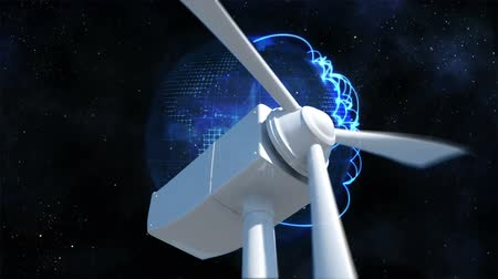 evrensel : Digital composite of a white windmill with rotating blades.. Background shows earth with glowing white lines connection.