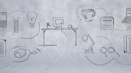 alfabetização : Digitally generated sketch of a desk with a cup and monitor on top. Background shows drawings of other icons. Stock Footage