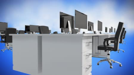 ワークステーション : Digitally generated office desks with computers moves on the screen with blue and cloud like background