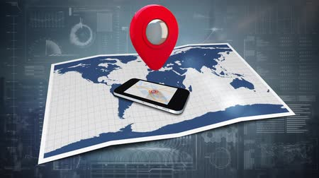 tárcsázás : Digitally generated cellular phone on top of world map and map icon rotating. Background of digital interface.