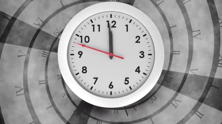 секунды : Digitally generated white clock striking to 12. Background shows time in roman numerals
