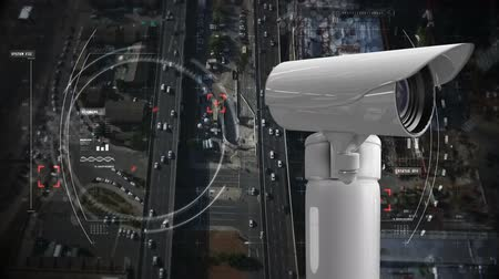 мониторинг : Digitally generated surveillance camera. Background of the road with cars and buildings.