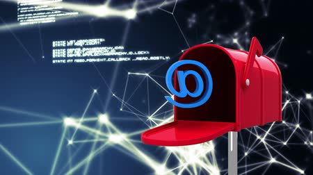 tárcsáz : Digitally generated red mailbox opens with an @ sign, glowing asymmetrical lights and data in the background. Stock mozgókép