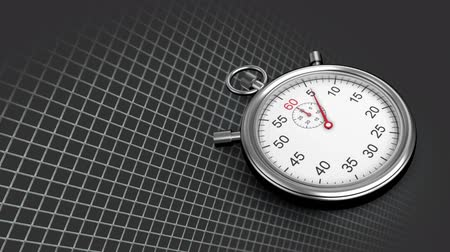 minute : Digitally generated stopwatch with 15 seconds timer against a square patterned background Stock Footage