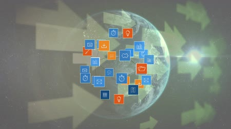 indicating : Digitally generated digital icons arranged spherically, background shows rotating globe and arrows in the background. Stock Footage
