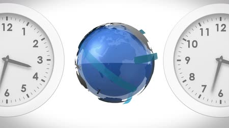 быстрый : Digitally generated globe rotating with airplanes between two white clocks. White background.