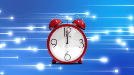 tick : Digitally generated red alarm clock zooming in as clock strickes 12. Background of glowing white lines