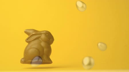 zondag : Digital composite of chocolate easter bunny with easter eggs falls and bounces. Yellow orange background. Stockvideo