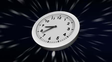 секунды : Digitally generated white clock with hands moving while background shows a shower of lights Стоковые видеозаписи