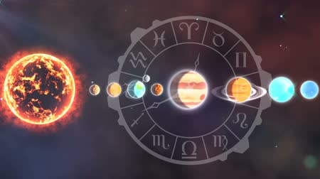 bak : Digitally generated solar system and the planets aligned with the circle of zodiac signs. Background of the galaxy.