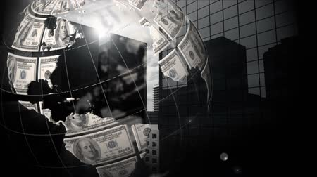 почему : Digitally generated rotating globe with dollar bills why background changes to buildings