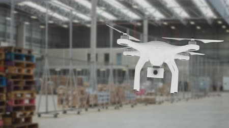 порядок : Digitally generated white drone flying over a warehouse Стоковые видеозаписи