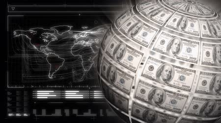 фэн : Digitally generated globe rotating with dollar bills on the surface. Dark background of map of the world in digital surface