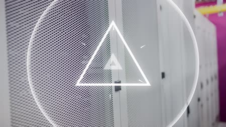 locker : Digitally generated white triangle pulsing. Background of server towers.