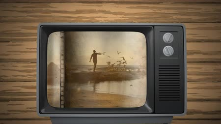 hangoló : Digitally generated old television showing a video of a man chasing the birds by the sea during sunset