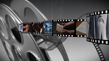 evangelical : Digitally generated film strip with different videos about religion moving across the screen. Gray background with film reel