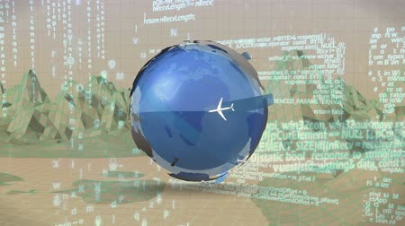 вокруг : Digitally generated rotating globe with airplanes around it moves through a terrain of landscape graphs