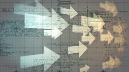 indicating : Digitally generated white arrows moving from left to right while background shows graphs and information Stock Footage