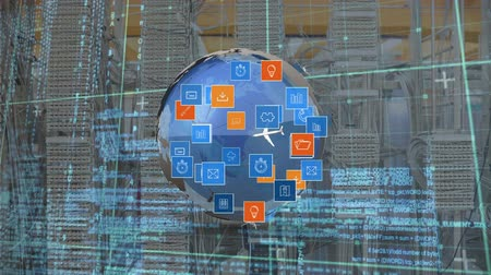 optimalizace : Digitally generated rotating globe while digital icons move and expands. Background shows close up of wires and small data information.