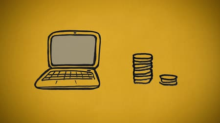 vázlat : Digitally generated sketch of laptop and pile of coins drawn in mono color against a yellow background