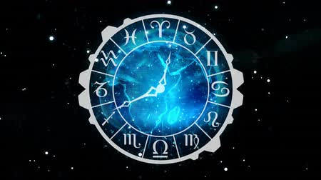 sterrenbeeld : Digitally generated analog clock with zodiac sign symbols. Background shows night sky with stars.