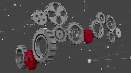 lét : Digitally generated silver gears being completed by red gears. Background shows asymmetrical lines and stars