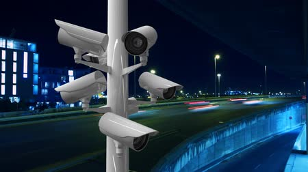 videosorveglianza : Digitally generated moving surveillance cameras placed in a highway