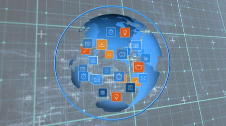 optimizasyonu : Digitally generated rotating globe while digital icons move and expands. Background of square patterns.