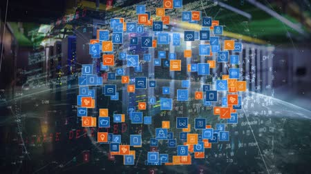 expanding : Digitally generated digital app icons forming a sphere and expanding while a portion of rotating globe rolls in. Background of server towers