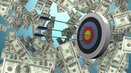dart : Digitally generated target getting hit while dollars fall in the background Stock Footage