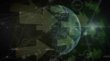 indicating : Digitally generated rotating globe with arrows and asymmetrical lines in the background Stock Footage