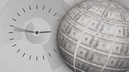 minute : Digitally generated analog clock moving as a globe rotates with dollar bills on surface