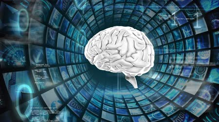 lobe : Digitally generated human brain rotating while surrounded by square patterns with different images and binary codes Stock Footage