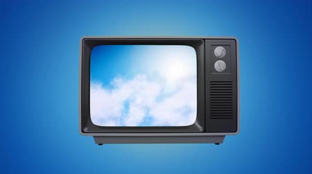 visual : Digitally generated old television showing a video of the sky