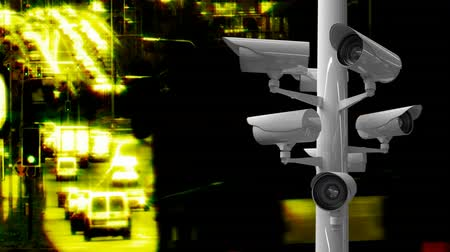 dizi : Digitally generated surveillance cameras while background shows a time lapse of a highway