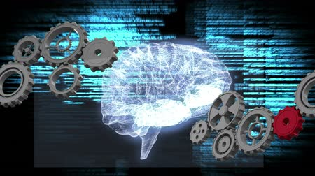 lobe : Digitally generated glowing digital human brain with gears. Background shows glowing digital information