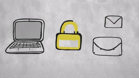 kłódka : Digital animation of sketches of a laptop, envelopes, messages and a yellow lock Wideo